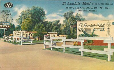 Colorpicture El Ranchito Motel roadside 1940s Phoenix Arizona postcard 10654
