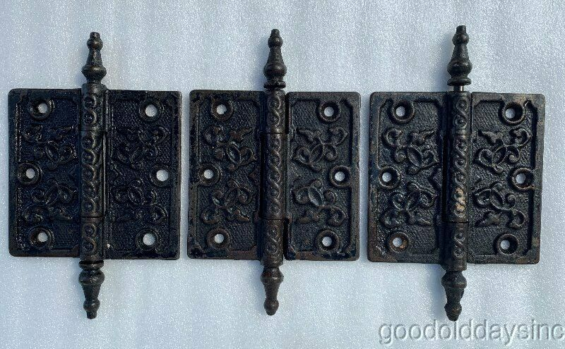 "3 Antique Gothic 4"" Cast Iron Door Hinges Circa 1890"