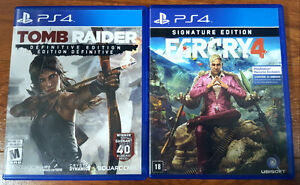 Tomb Raider and Farcry 4 for PS4