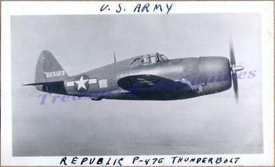 WWII US Army Air Force Curtiss Republic P-47 Thunderbolt Fighter Airplane Photo