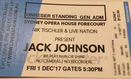 Jack Johnson x 1 ticket - Fri 1 Dec - Sydney Opera House