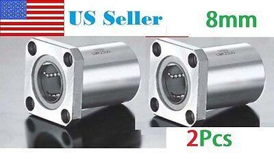 2pcs Lmk8uu 8mm Square Flange Type Linear Bearing Ball Bushing 8x15x24mm