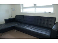 Designer Deluxe Large Black Faux Leather Corner Sofa Bed 3/4 Seater
