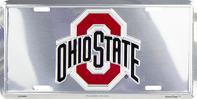OHIO STATE BUCKEYES CAR TRUCK TAG CHROME LICENSE PLATE METAL BUCKEYES FOOTBALL