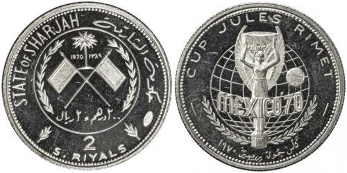 UAE SHARJAH SILVER ***** PROOF ***** 2 RIYALS 1970 SOCCER 4.5K ISSUED! RARE n701