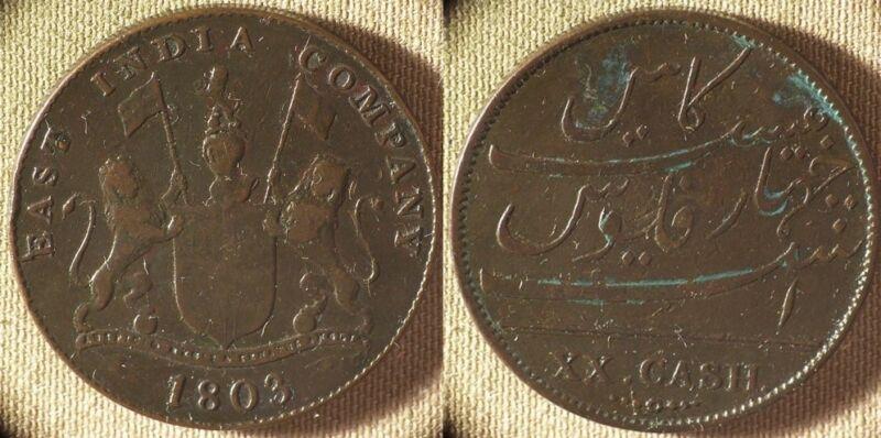 India : Br. Madras 1803 20 Cash  F-VF Some Green      IR8581