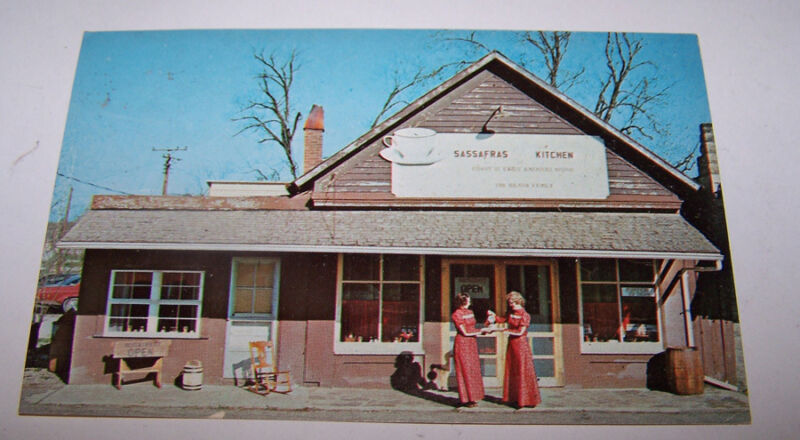 Vintage Sassafras Kitchen Postcard PARKE COUNTY BRIDGETON INDIANA Hiland Family