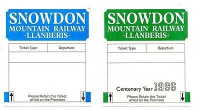 SNOWDON MOUNTAIN RAILWAY: 2 BLANK COMPUTER-ISSUE TICKETS, 1990s, ONE CENTENARY.