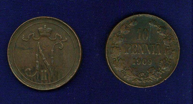 FINLAND (RUSSIA)  NICHOLAS II  1909  10 PENNIA COIN XF+