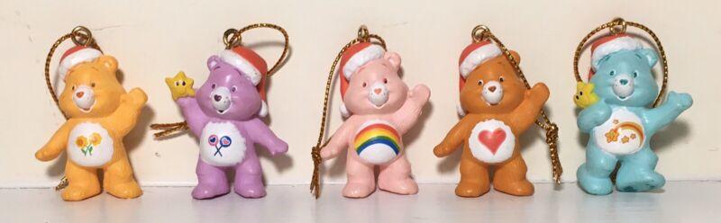 "American Greetings Miniature Care Bears Christmas Ornaments 1.5"", Set of 5, 2005"