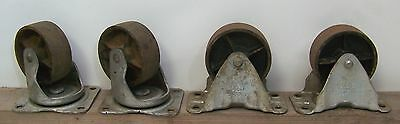 4 Vintage Bassick Industrial 4 Casters 2 Swivel 2 Fixed Cast Iron Wheels Dolly