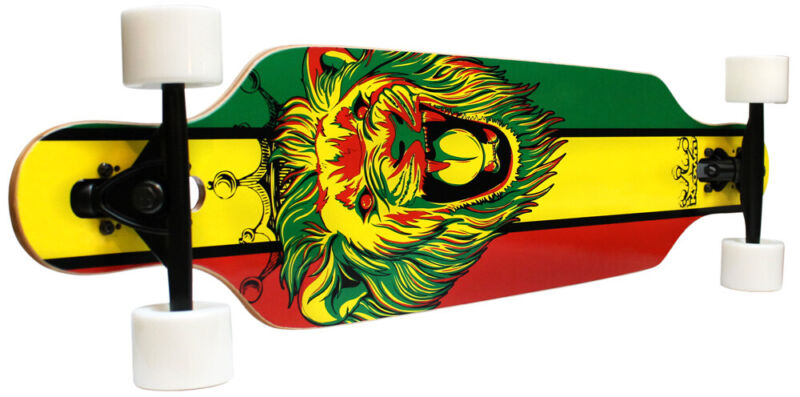 KROWN ELITE LONGBOARD RASTA LION 8-ply Maple Drop Through Skateboard