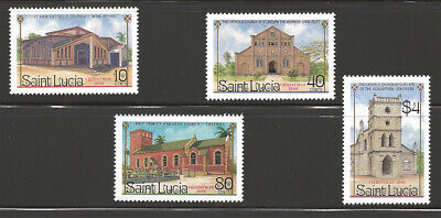 Saint Lucia Scott #867-870 MNH Stamp Set - Churches Architecture Christmas 1986