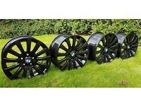 NEW SET OF 4 BLACK ALLOY WHEELS BMW / VAUXHALL INSIGNIA - ALLOYS - PCD 5x120 - 315 POUNDS ONO
