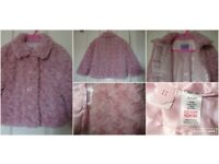 Girls pink fluffy coat size 3-4 years