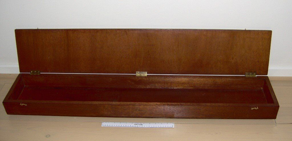 strong 3ft 10in long box with brass hinges, very well made.