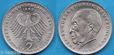 1969 D * 2 Deutsche Mark Konrad Adenauer Stempelglanz #