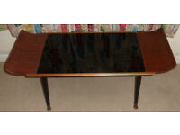 VINTAGE RETRO 1950s / 1960s CURVED G PLAN DANSETTE LEGS GLASS TOP COFFEE TABLE