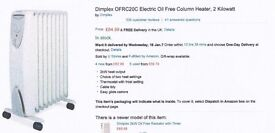 FOR SALE -3 Dimplex OFRC 20c oil free radiators and 2 Dimplex oil filled OFC 1500.