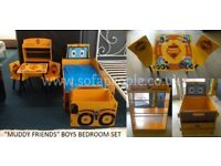 Boys Bedroom set with bed, mattress, bookcase, table+ 2 chairs and storage toy box complete package