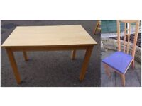 Ikea Solid Wood Table & 4 Chairs Blue Seats FREE DELIVERY 403a