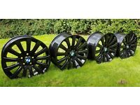 NEW SET OF 4 BLACK ALLOY WHEELS BMW / VAUXHALL INSIGNIA - ALLOYS - PCD 5x120 - 335 POUNDS ONO