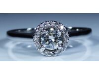 """GSI Certified """"Arctic Brilliance"""" 18k White Gold 0.36ct Diamond Halo Engagement Ring rrp £1,700"""