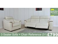 Designer Cream Leather 3 Seater Sofa + chair (32) £799