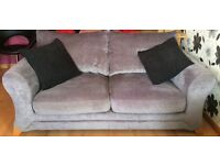Two sofas, 1 x 2 seater, 1x 3 seater. Silvery grey velour, overstuffed back cushions.