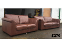 DFS 3+2 brown leather sofas VGC DELIVERY AVAILABLE