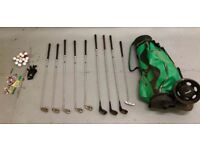 Old Golf Club Clubs Irons Drivers Putter Bag Trolley Balls Tees