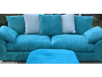 A New Designer 4 Seater Teal Cord Fabric Material Scatter Back Sofa.