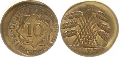 Weimar 10 Pfennig J.309 1925D Fehlprägung: 15% dezentriert,prägefrisch
