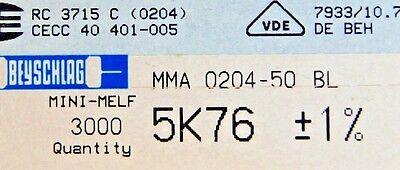 1000pcs Resistor Smd 5.76k Ohm Minimelf 50ppm 1 0.4w Mma020450bl 5k76 Beyschlag