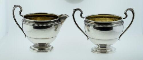 Watrous Mfg. Co Sterling Silver Sugar Bowl & Creamer PC60 Bead Pattern