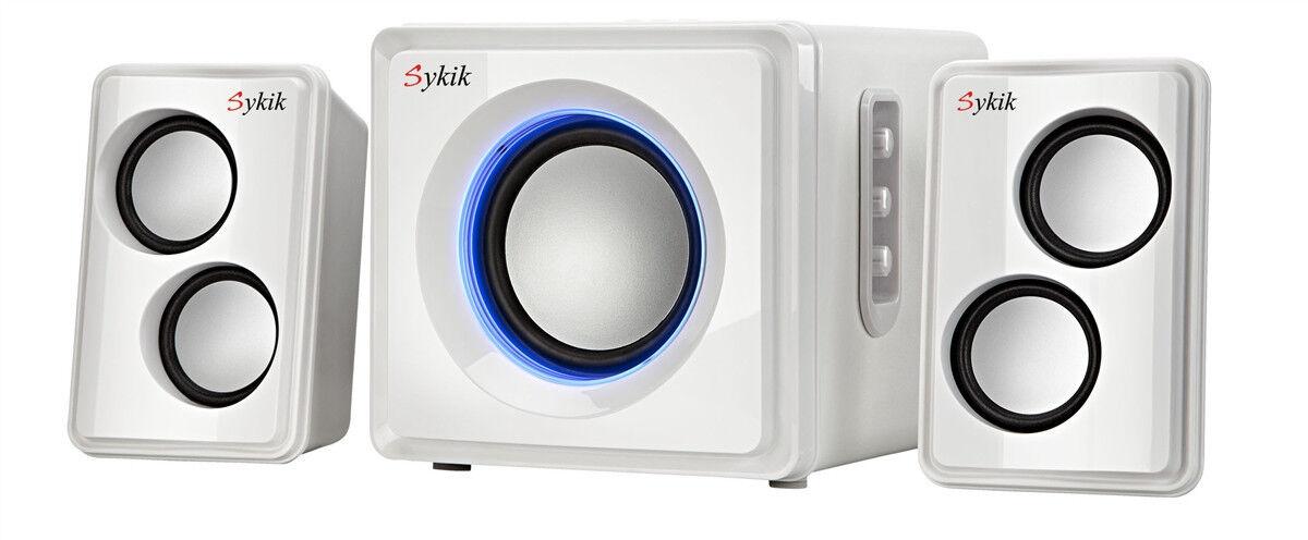 Sykik 2.1 Speaker System - 27 W RMS - Wireless Speaker - Whi