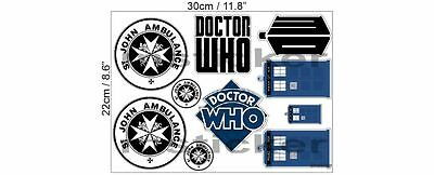 Doctor Dr. Who Aufkleber Sticker Set Tardis St John Ambulance Auto Motorrad BW ()