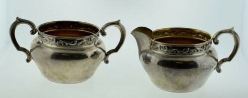 Reed & Barton Sterling Silver Sugar Bowl & Creamer Scroll X 828