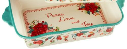 """Pioneer Woman Stoneware 14""""  3.6 Qt Cheerful Rose Casserole Baker Teal NEW"""