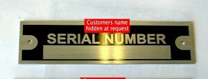 NEW BLANK SERIAL NUMBER PLATE DATA IDENTIFICATION VEHICLE ID TAG VIN FREE SHIP