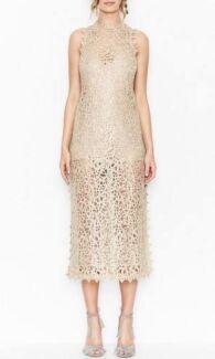 Alice McCall Gold Bordeaux Metallic Cord Lace Midi Dress
