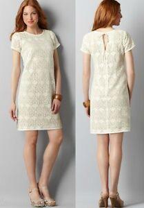 Ann-Taylor-Loft-Crochet-Lace-Short-Sleeve-Dress-Size-0-2-4-6-8