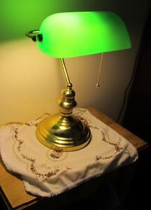 EMERALD GREEN & BRASS ```` Bankers/Desk or Piano Lamp