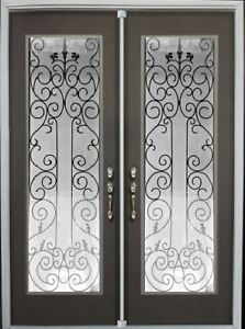 wrought iron glass stained glass door glass inserts Design WG15