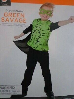 Little Boys * GREEN SAVAGE *  Dress Up Costume NWT ONE SIZE FITS MOST