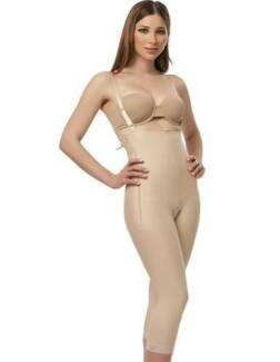 Surgical Compression garment, zip sides, below knee, open crotch
