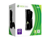 XBox 360s Gloss 250Gb hard drive with Controller