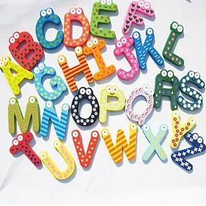 26 A-Z Letters Alphabet Wooden Fridge Magnet Baby Kids Educational Set E880