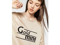 New Zara Slogan T-Shirt in Gold