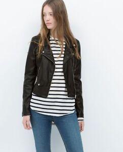[lightly used] ZARA TRF faux leather biker jacket-Womens XL